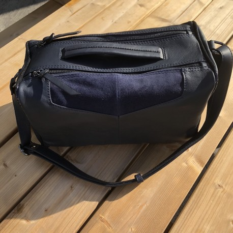 sac à main forme bowling - bleu marine - léatoni