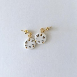 "Boucles d'oreilles ""Chat"" en porcelaine - Natacha Plano"