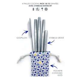Kit de 4 pailles inox - Cocktail - GaspaJoe