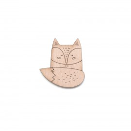 Broche Renard en bois - Madame Grizzly