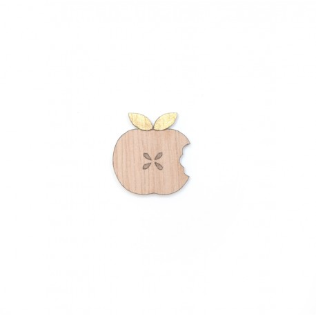 Broche Pomme en bois - Madame Grizzly