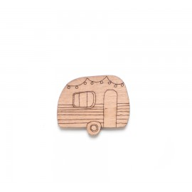 Broche Caravane en bois - Madame Grizzly