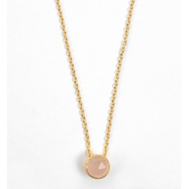 Collier plaqué or et quartz rose - Bohemia