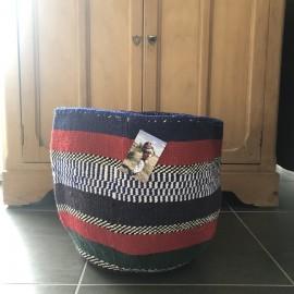 Grand panier africain tissé en laine - Bleu | The Basket Room