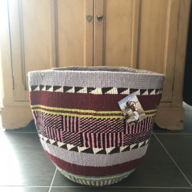 Grand panier africain tissé en laine - Lilas| The Basket Room