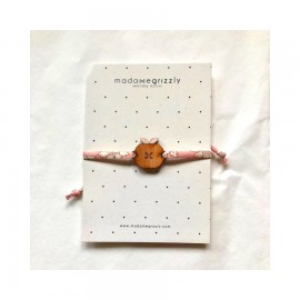 Bracelet Pomme cordon Liberty rose - Madame Grizzly
