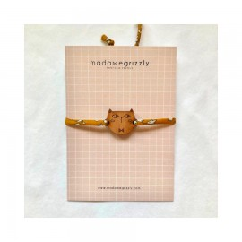 Bracelet Chat cordon Liberty ocre - Madame Grizzly