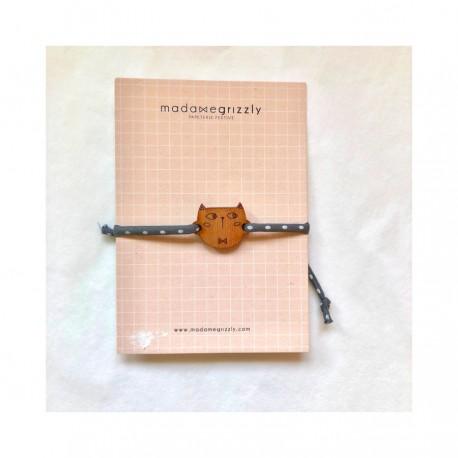 Bracelet Chat cordon Liberty gris - Madame Grizzly