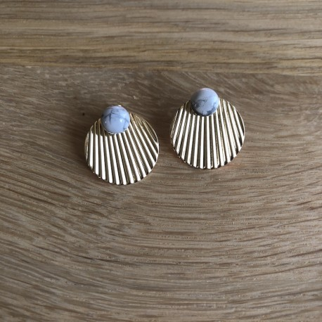 Boucles d'oreilles Santorin - Blanc marbré - Kalisaya