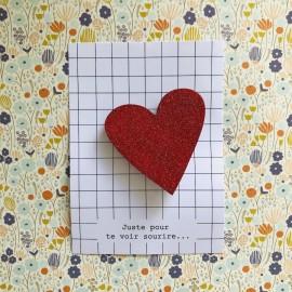 Broche Coeur rouge pailleté en bois - Cité Candide