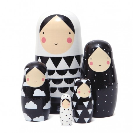 Poupées russes Matrioshka Noir et Blanc - design by Sketch Ink - Petit Monkey