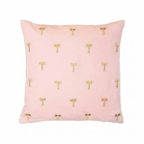 Coussin palmier rose & or