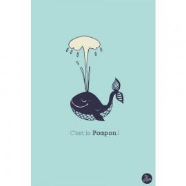 """Carte """"C'est le Pompon"""" - Bleu"""