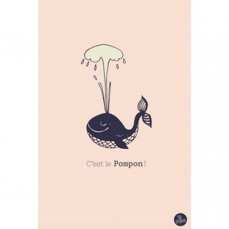 """Carte """"C'est le Pompon"""" - Rose"""