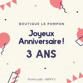 🎈3 ans 🎈 Wahoo déjà 3 ans que Boutique le Pompon est née 🥳 Que de chemin parcouru depuis les premières ébauches de site internet jusqu'à aujourd'hui! Merci à vous tous de suivre les aventures du Pompon et de lui être fidèle 🤩🤩 Pour fêter dignement ses 3 ans, le Pompon vous offre, samedi 17 et dimanche 18 avril, un promo code: HAPPY3 pour vous faire bénéficier de -30% dès 50€ d'achat ! 🎁 Bref faisons-nous plaisir !!! - Et encore Merci Merci Merci pour ses 3 années avec vous 🥰 - Livraison 🚚 Mondial Relay, Click&collect, Colissimo ... . #anniversaire #3ans #happy3 #promocode #merci #boutiquelepompon #lepompon #boutiqueenligne #livraison #decorationinterieur #cadeau #kids #familystore #conceptstore #petitsbonheurs #sefaireplaisir